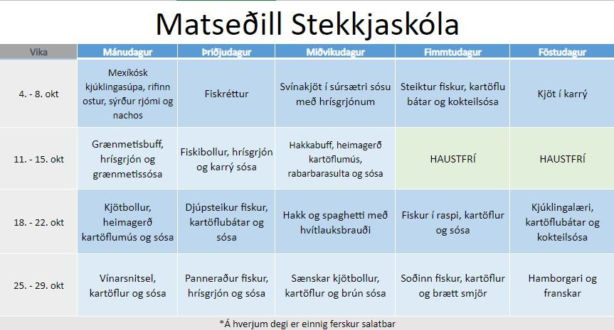 Matseðill Stekkjaskóla - október 2022